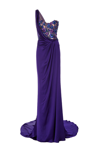 Medium marchesa purple one shoulder floral embroidered gown
