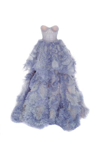 Medium marchesa blue tiered ball gown