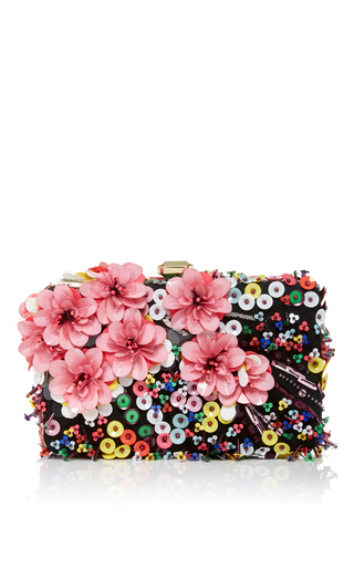 Medium elie saab multi floral embroidered clutch