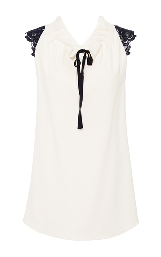 Medium roland mouret white stretch double crepe and lace lucas top