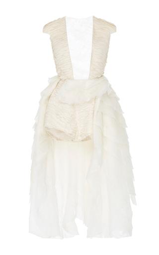 Medium paula raia off white plunge romper with asymmetrical skirt