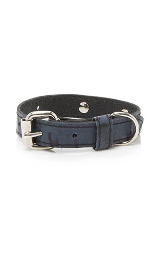 Medium max bone navy harbor dog collar