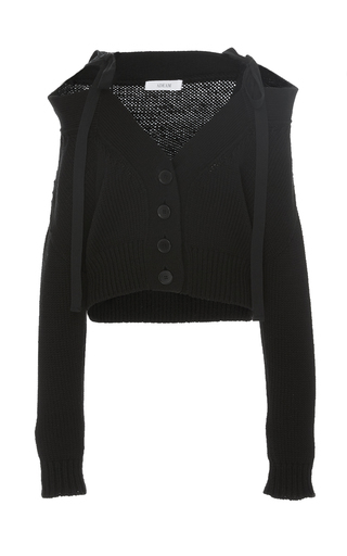 Medium adeam black black chunky off the shoulder cardigan