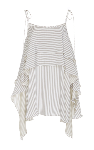 Medium adeam stripe tiered flounce top