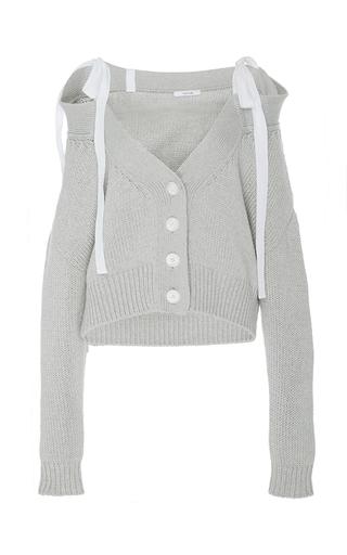 Medium adeam light grey light grey chunky off the shoulder cardigan