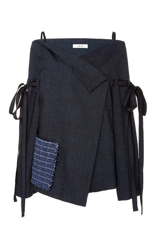 Medium adeam navy off the shoulder linen jacket