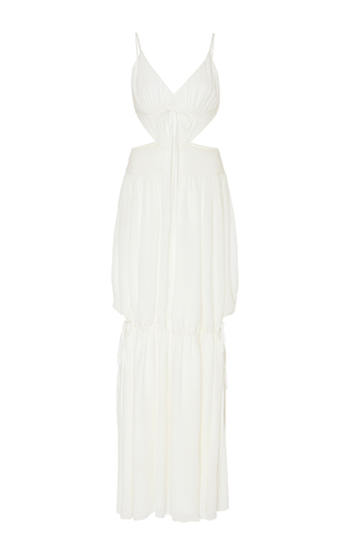 Medium adeam white side drawstring plisse long dress