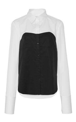 Medium tibi black white bustier shirting top