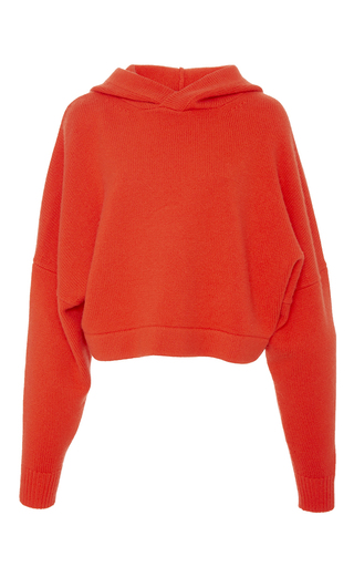Medium tibi red cashmere hooded pullover
