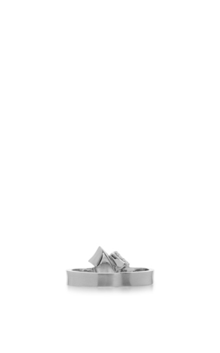 18 K White Gold Knot Ring by CARELLE Now Available on Moda Operandi