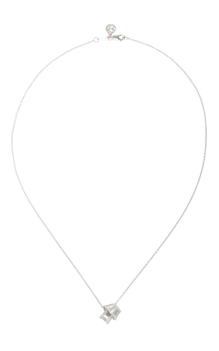 18 K White Gold Knot Necklace by CARELLE Now Available on Moda Operandi