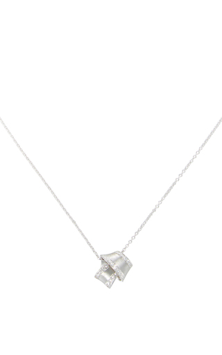 Medium carelle silver 18k white gold knot necklace