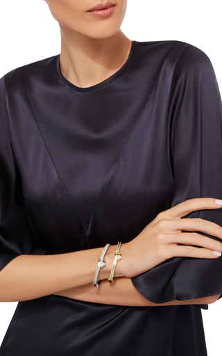 18 K White Gold Knot Bangle by CARELLE Now Available on Moda Operandi