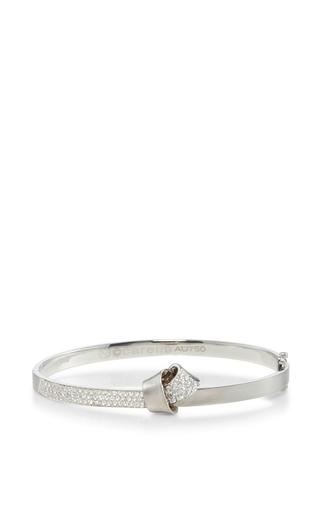 Medium carelle silver 18k white gold knot bangle