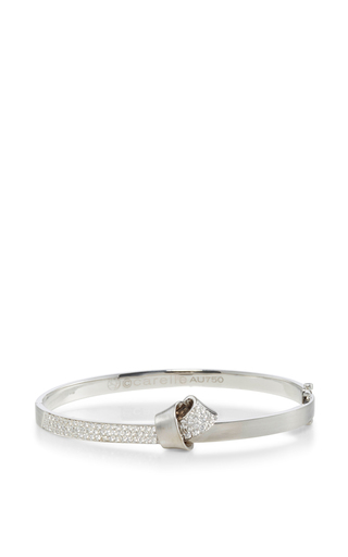 Medium carelle silver 18k white gold knot bangle