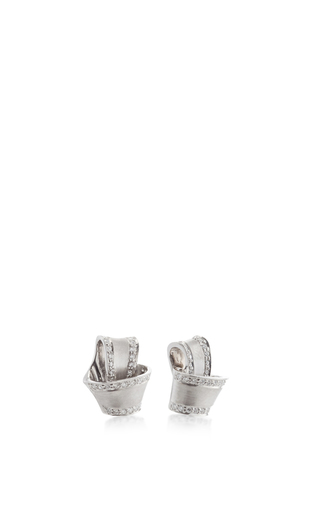 18 K White Gold Knot Earrings by CARELLE Now Available on Moda Operandi