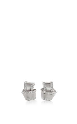 Medium carelle silver 18k white gold knot earrings