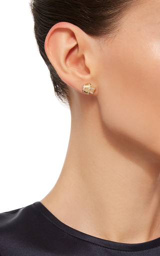 18 K Yellow Gold Knot Earrings by CARELLE Now Available on Moda Operandi
