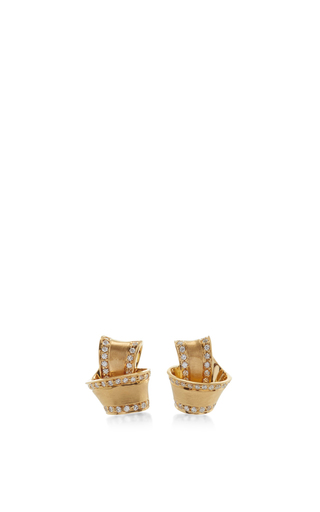 Medium carelle gold 18k yellow gold knot earrings