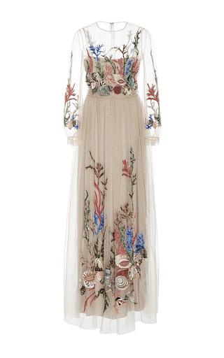 Medium alberta ferretti tan floral embroidered tulle gown