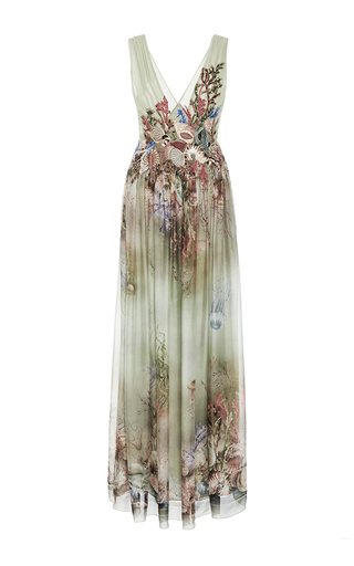 Medium alberta ferretti print v neck printed chiffon gown
