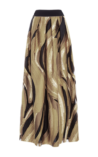 Medium alberta ferretti gold jacquard long a line skirt