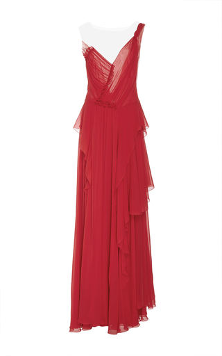 Medium alberta ferretti red draped one shoulder chiffon gown