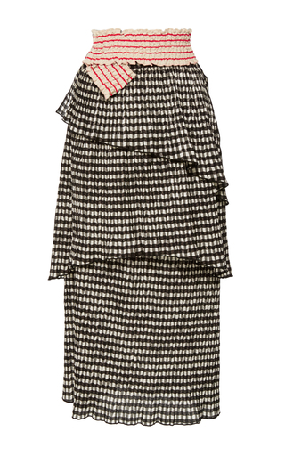 Medium rosie assoulin black mountain range tiered skirt with belt