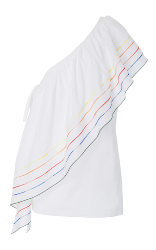 Medium rosie assoulin white wedge top with rainbow marrow