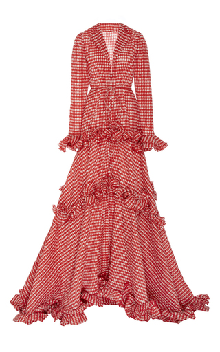 Medium rosie assoulin red twisted ruffle drawstring waist gown 2