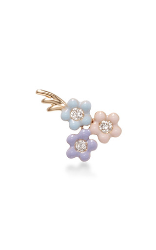 Medium alison lou pink bouquet of daisies stud earring