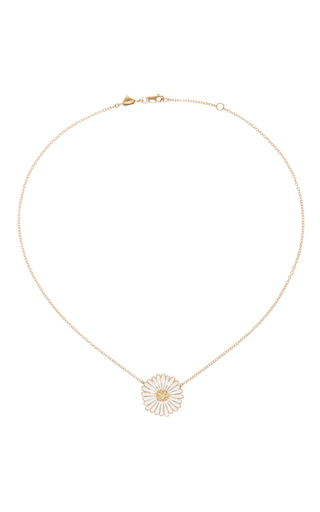 Medium alison lou white daisy enamel necklace