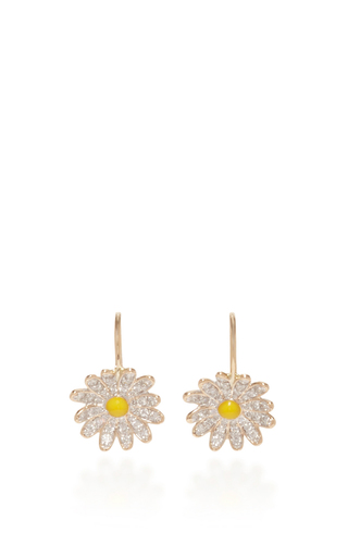 Medium alison lou white daisy diamond drop earrings