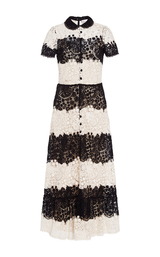 Medium red valentino black white short sleeve lace dress