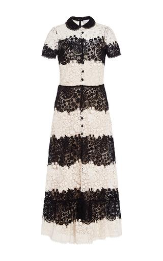 Medium red valentino black white short sleeve lace dress