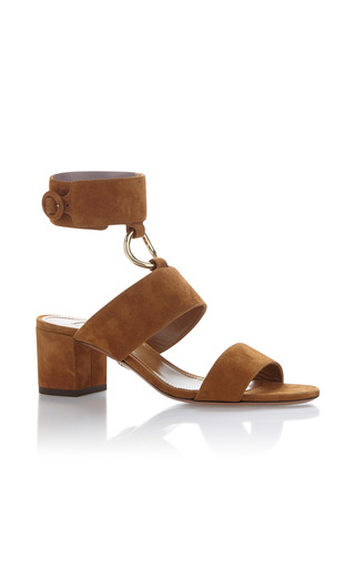 Medium aquazzura brown safari suede sandals