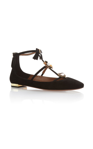 Medium aquazzura black pandora suede flats