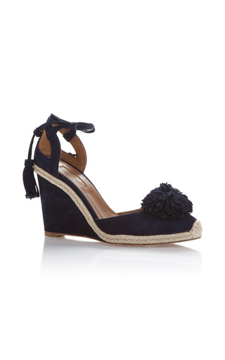 Medium aquazzura navy sunshine wedged espadrille