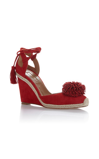 Medium aquazzura red sunshine wedged espadrille 2