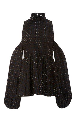 Medium caroline constas black printed peplum blouse