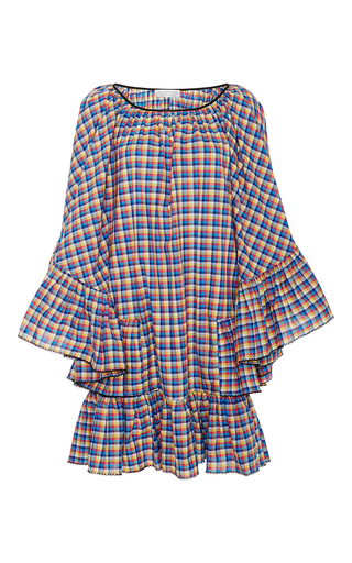 Medium caroline constas plaid rainbow ruffle beach dress