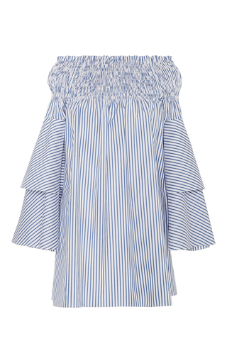 Medium caroline constas stripe apollonia off the shoulder mini dress