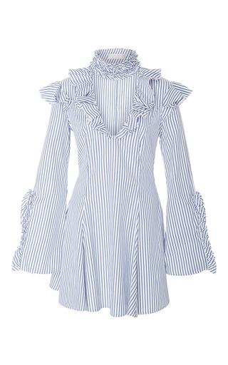 Medium caroline constas stripe micki ruffled high neck mini dress