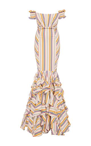 Medium caroline constas stripe thea off the shoulder stripe gown