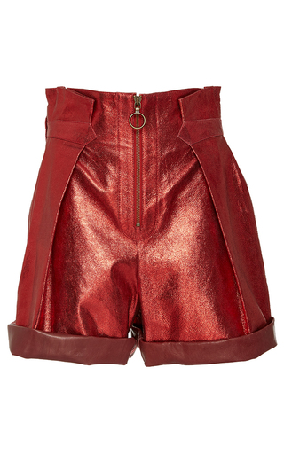 Medium philosophy di lorenzo serafini red red metallicized leather high waisted shorts