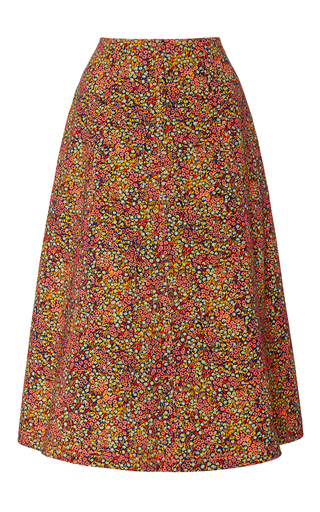 Medium philosophy di lorenzo serafini floral printed cotton drill a line skirt