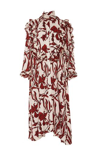 Medium ellery ivory pascale shirred ruffle sleeve dress