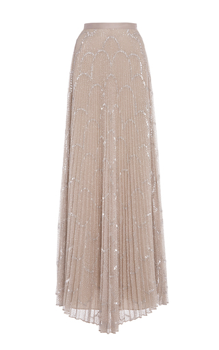 Medium alexis nude teresa pleated sequin maxi skirt