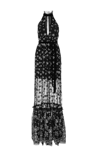 Medium alexis black florence embellished halter gown