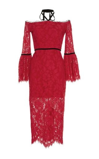 Medium alexis red odette halter lace dress